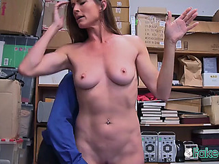 Excited officer makes sofie marie disrobe down and take his fruitful penis