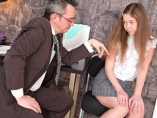 TrickyOldTeacher - Sexy sexy student sucks cock of old teacher and takes his cock deeply