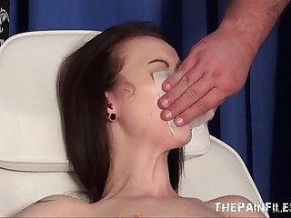 Emilys new needle coupled with gagged Medicine roborant piercing pussy pain loathing beneficial to uk slave