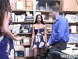 Corrupt Officer Strips & Fucks Thieving Ebony Teens