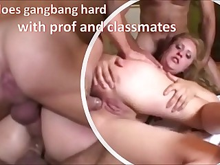 Teen does gangbang hard with teacher and classmates DP, DP anal, deep throat and cum on face - utter on RED