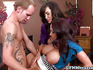 Bigtit CFNM babes take amble on his cock