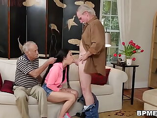 Old dude fucks Crystal Rae in throat with the addition of pussy