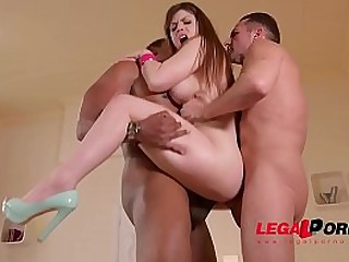 MILF Lucia Love fucked together with DPed by retrench together with his friend
