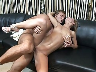 Young hottie Jenny b. was banged on sombre leather sofa with hard pole