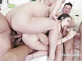 7on1 Angie Moon GangBang with Triple anal, prolapse coupled with 7 facials!